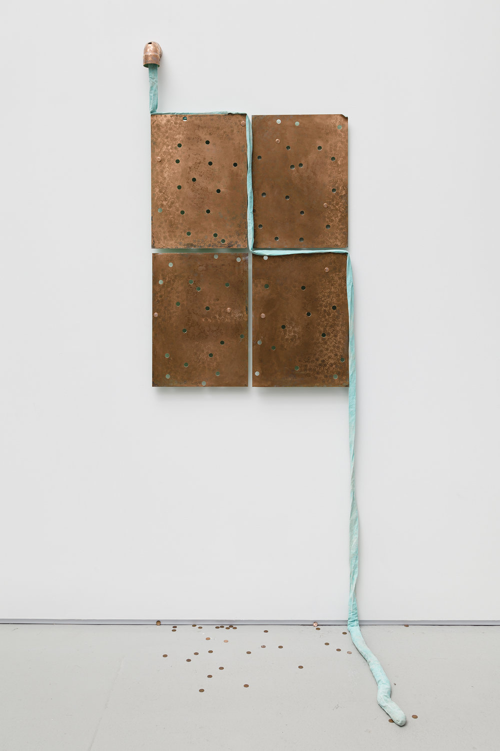 Jory Rabinovitz,  Through 2,  2015, melted pennies and un-melted pennies, Verdigris Green fabric, 97.5 x 36 x 30 in