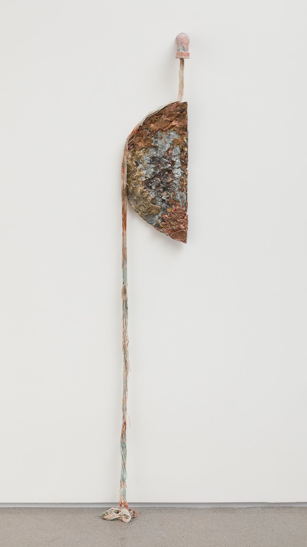 Jory Rabinovitz,  Receiving (Divided),  2015, melted currency, unsold sculptures, Verdigris, iron oxide, zinc white, Dimensions variable