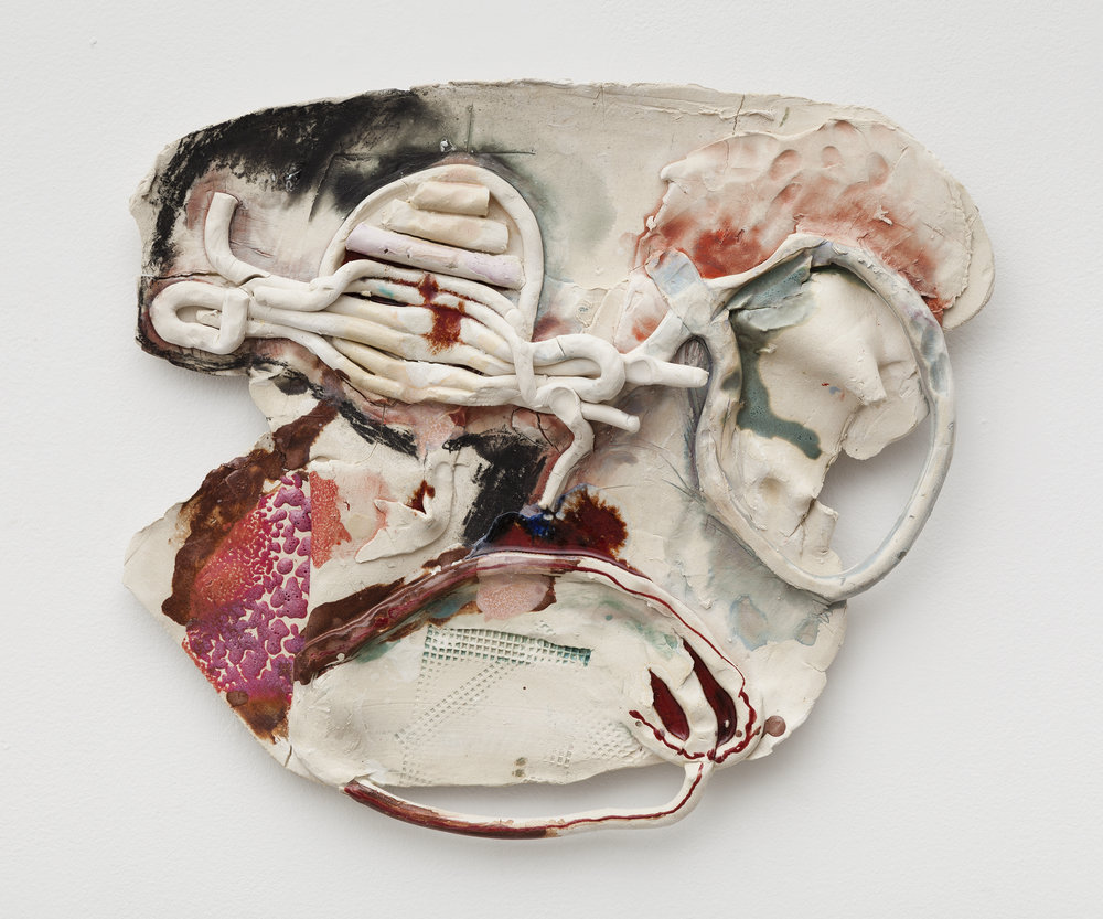 Jennie Jieun Lee, Pearl, 2015, glazed stoneware, 18 x 20 x 1.5 in.