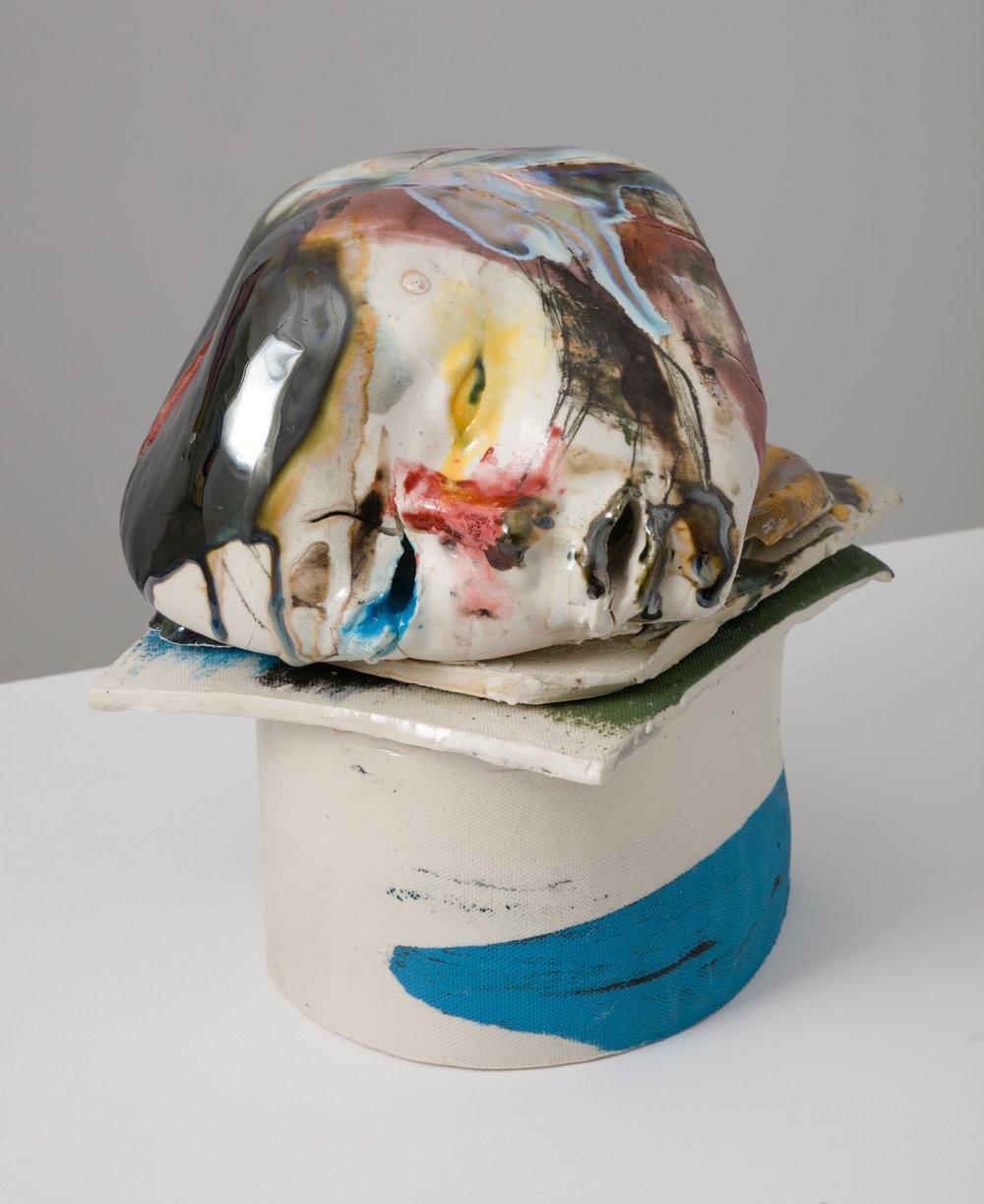 Jennie Jieun Lee, Untitled No. 23, 2016, porcelain slipcast, glaze, underglaze, pencil, 5 x 8 x 9 in.