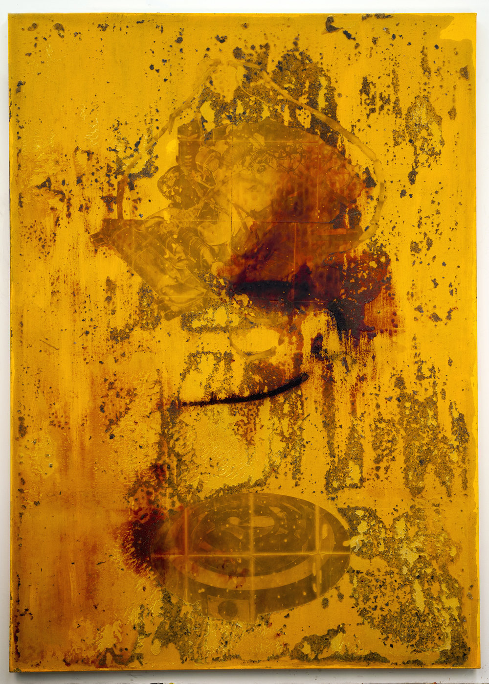 JPW3, SSB w/ F w/O, 2015, wax, ink and acrylic on canvas, 84 x 60 in.