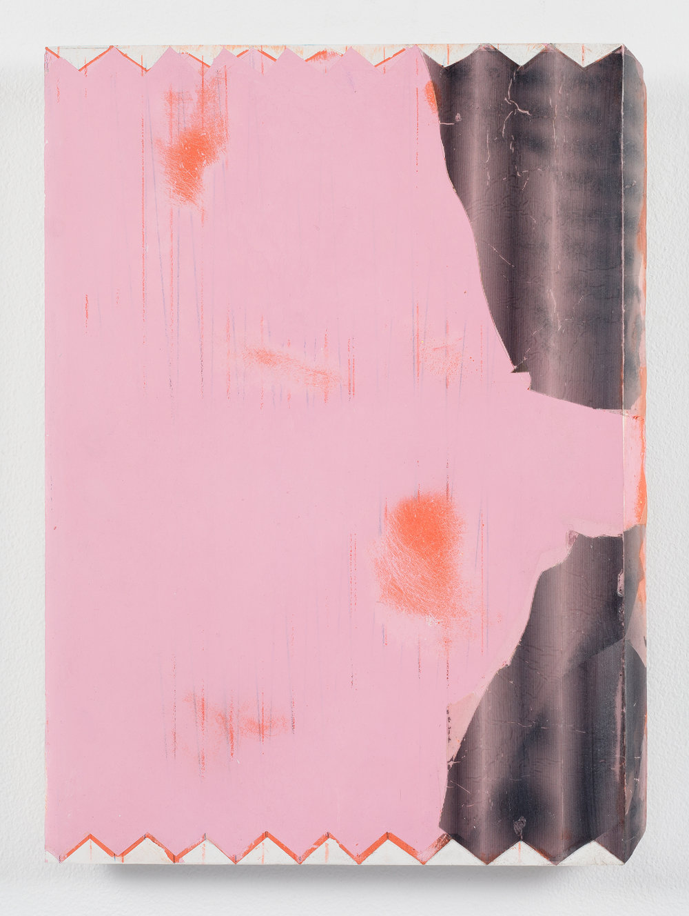 Nicolas Roggy,  Untitled (Pink),  2012, gesso, pencil, acrylic paint and collage on PVC, 15.5 x 11.5 in.