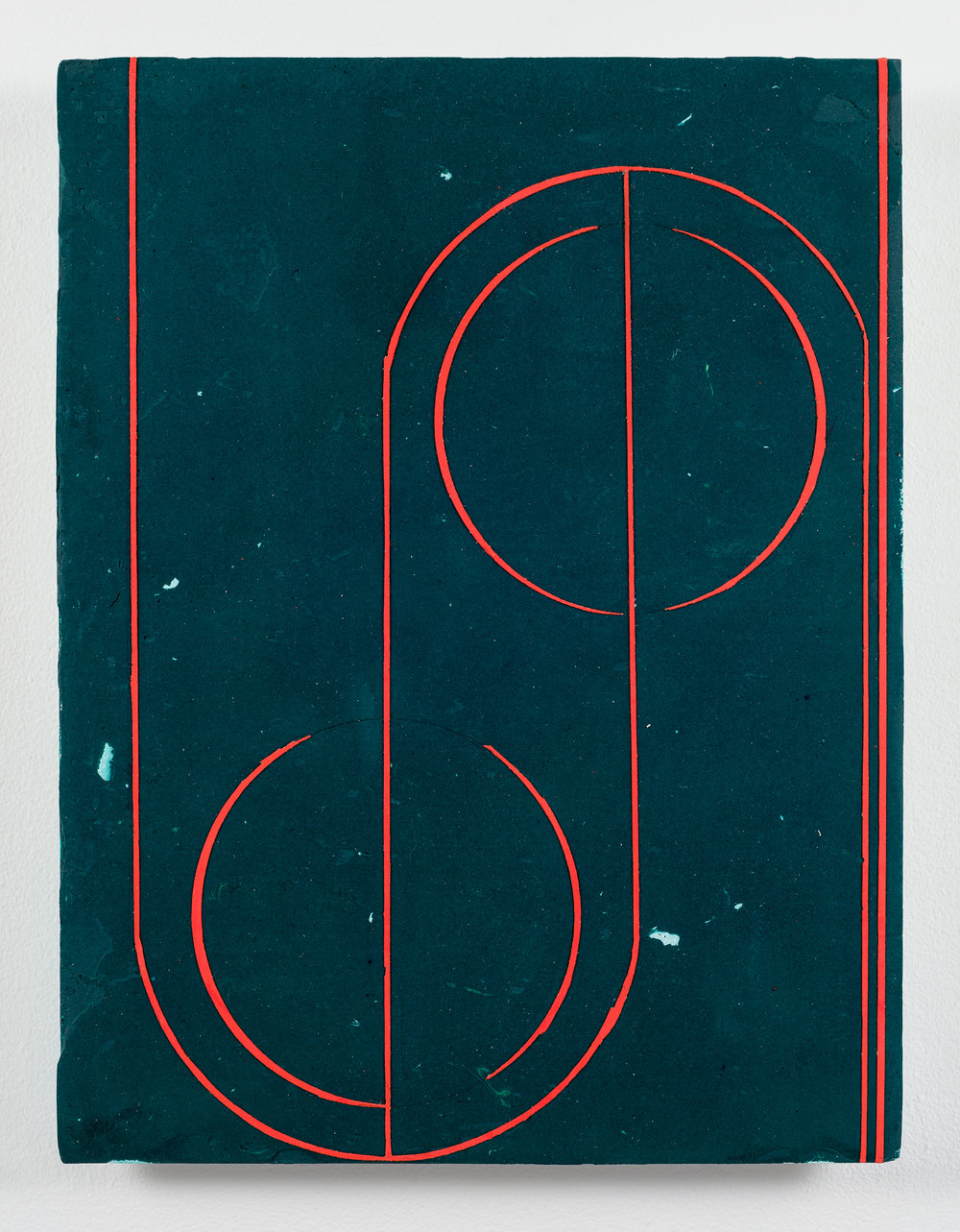 Nicolas Roggy,  Untitled (Green),  2013, acrylic medium and pigment on PVC, 17 x 12.75 in.