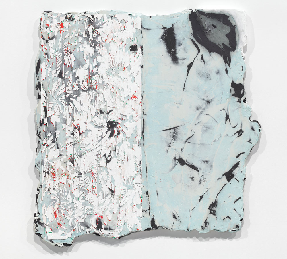 Nicolas Roggy,  Untitled,  2015, pigment, acrylic, acrylic medium and gesso, on PVC, 34 x 34 in.