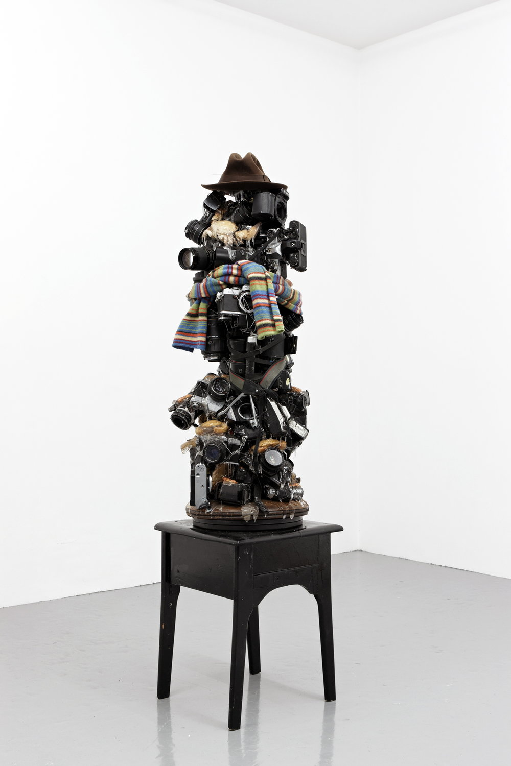 Justin Lieberman,  Tom Baker,  2010, cameras, hardware, taxidermy crabs, resin, hat and scarf, dimensions variable