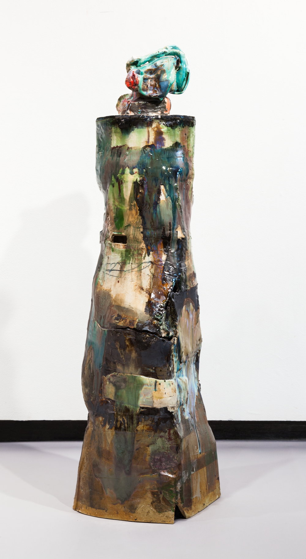 Jennie Jieun Lee,  Untitled Green , 2017, glazed stoneware, 43.25 x 12 x 10 in.