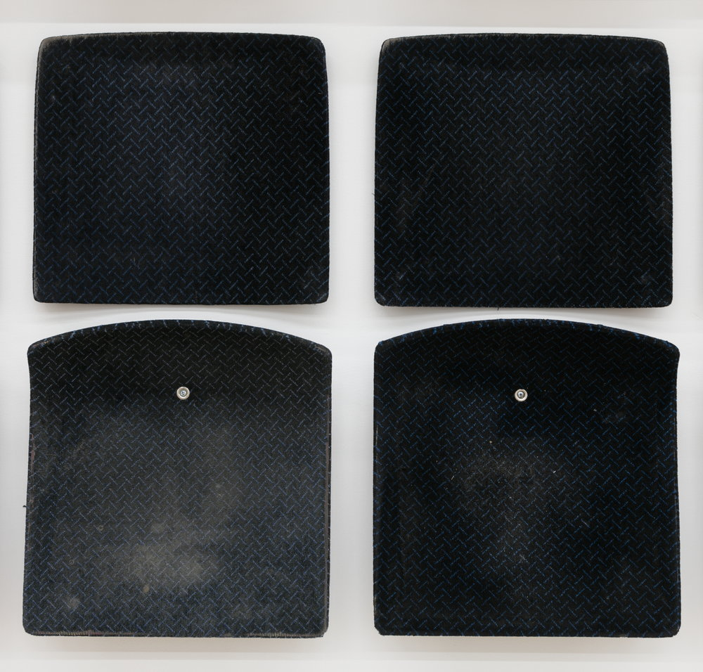 Jessica Vaughn,  After Willis (rubbed, used and moved) #005 ( detail), 2017, 36 individual pairs of used machine fabricated public transit train seats (Chicago Transit Authority 1998-2011), 98 x 225 x 0.25 in.