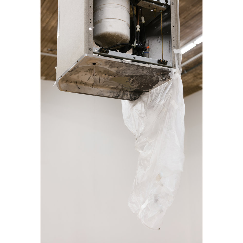 Pope.L,  Pedestal  (detail), 2017, acrylic paint, drain, Elkay drinking fountain #EFA201F, hardware, hole, photo timer, plastic pail, plastic sheeting, solenoid, tape, tubing, and wood, dimensions variable