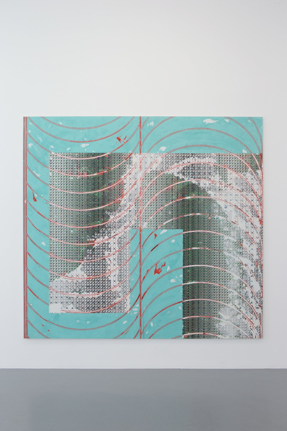 Nicolas Roggy,  Untitled,  2014, gesso, acrylic medium, pigment, acrylic and silkscreen on PVC, 87 x 93.75 in.