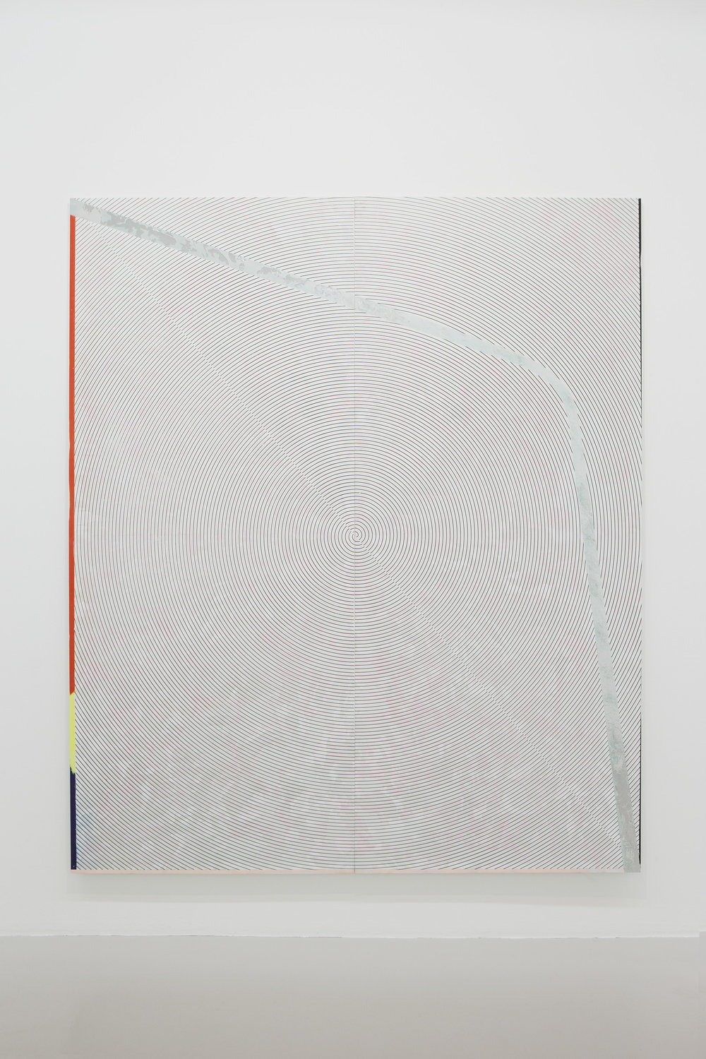 Nicolas Roggy,  Untitled,  2014, gesso, acrylic medium, pigment, acrylic, silkscreen and silver leaf on PVC, 92.5 x 78.75 in.