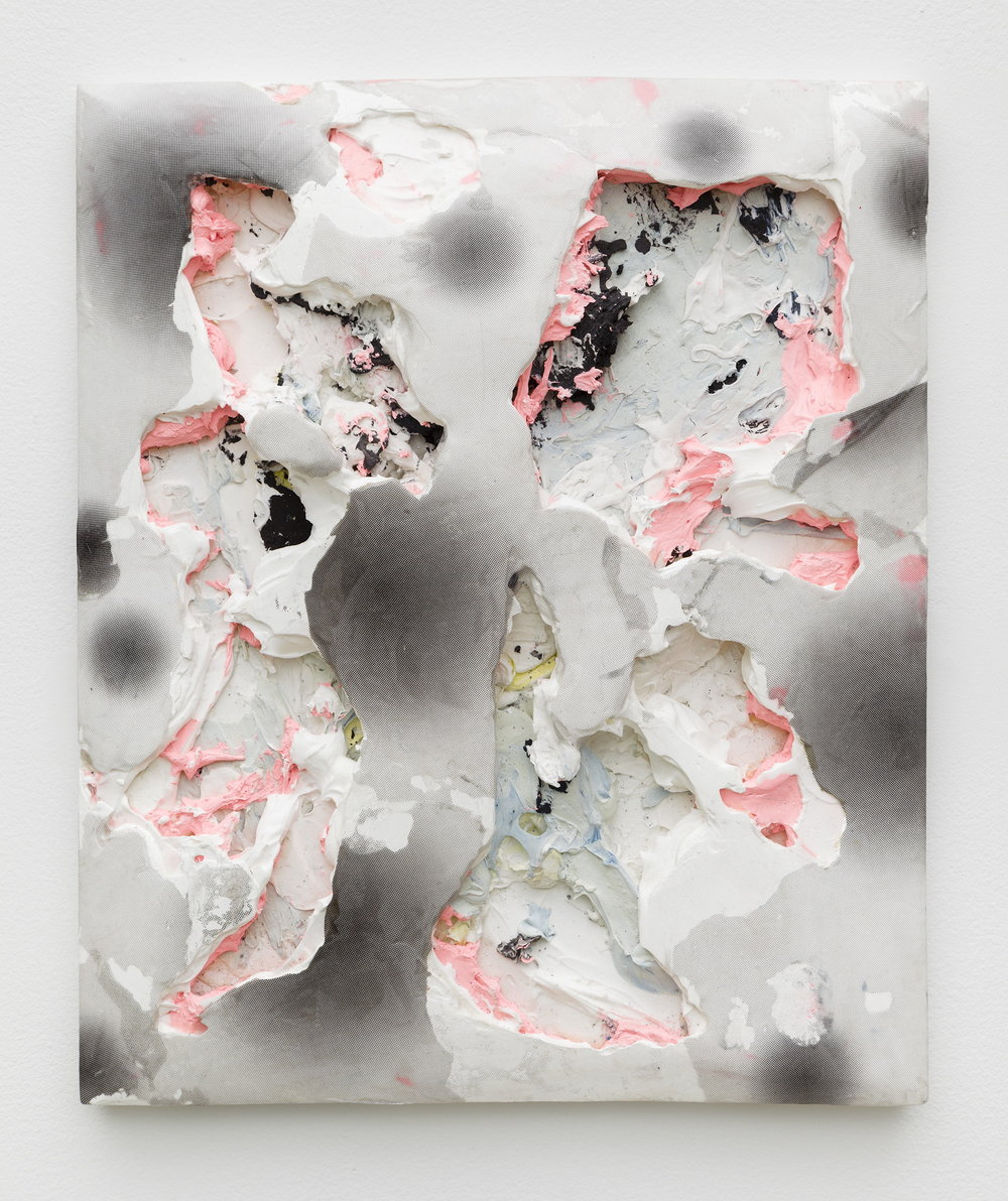 Nicolas Roggy,  Untitled,  2014, primer, acrylic medium, pigment, acrylic paint and print on PVC, 13.7 x 17.7 x 2.3 in