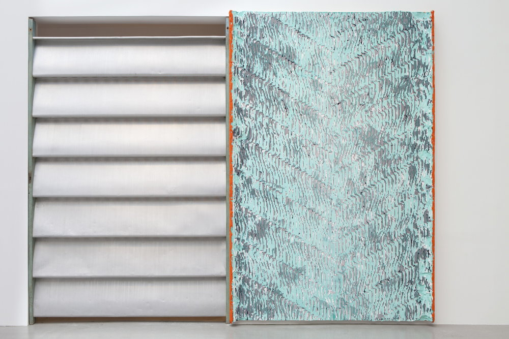 left: Jean Prouvé,  Brise-soleil, Cameroun , 1964, aluminum and wood, 106 x 70 x 6 in. right: Nicolas Roggy,  Untitled,  2016, acrylic medium, pigments, acrylic and primer on wood, 106.25 x 70.13 in.