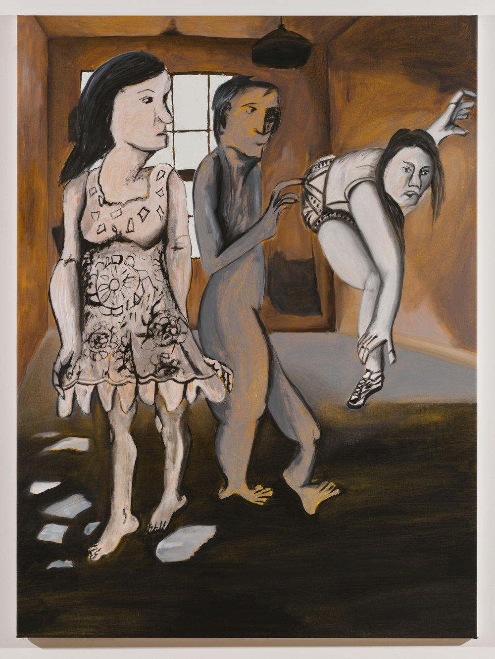 Sofi Brazzeal,  Untitled (3 figures, one in lace dress),  2016, oil and acrylic on canvas, 48 x 35.5 in.