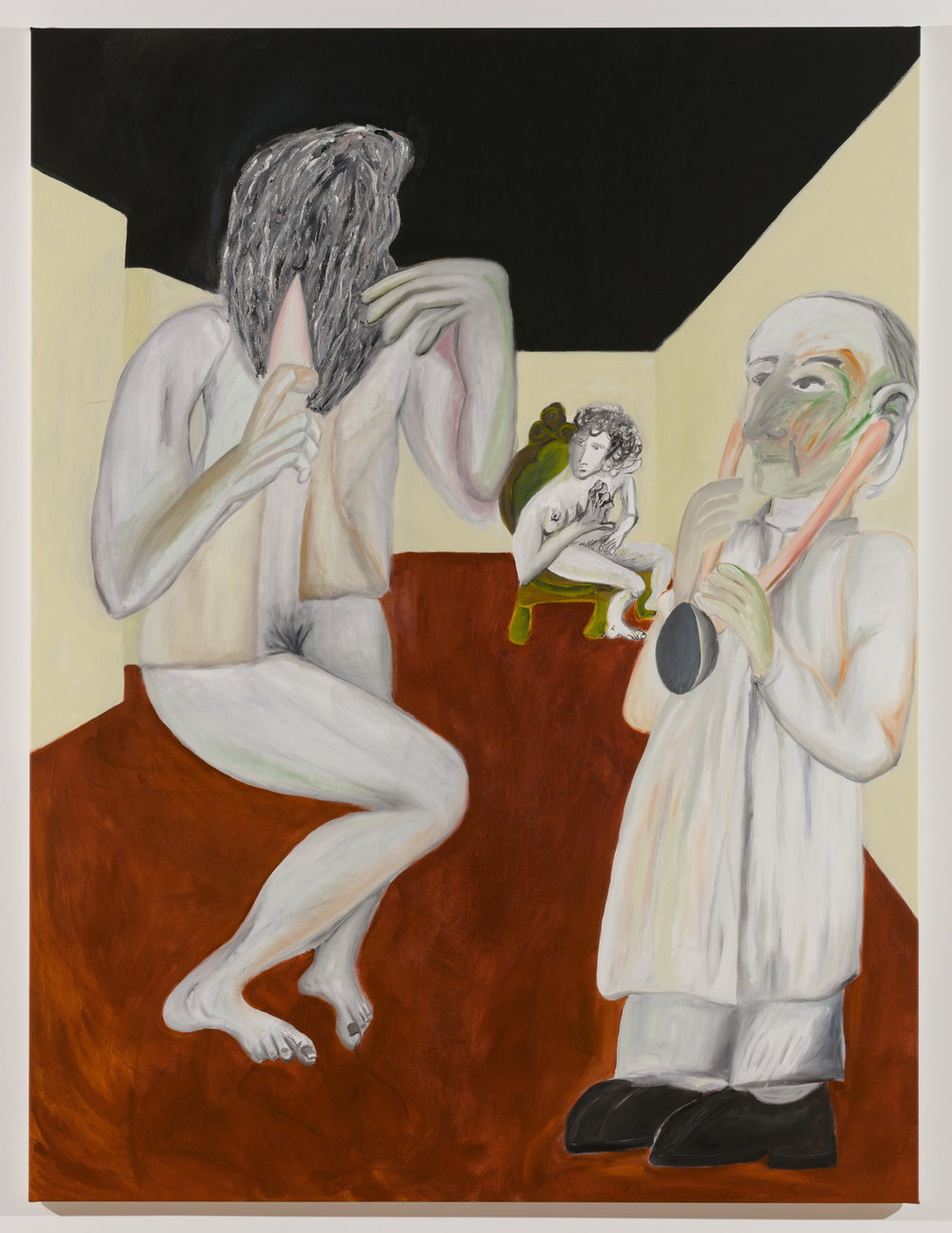 Sofi Brazzeal,  Untitled (doctor, seated woman and woman with hairbrush 2),  2016, oil and acrylic on canvas, 72 x 54 in