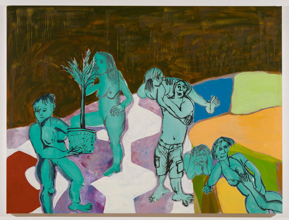 Sofi Brazzeal,    Untitled (six figures with potted plant) , 2017, oil on canvas, 54 x 72 in.