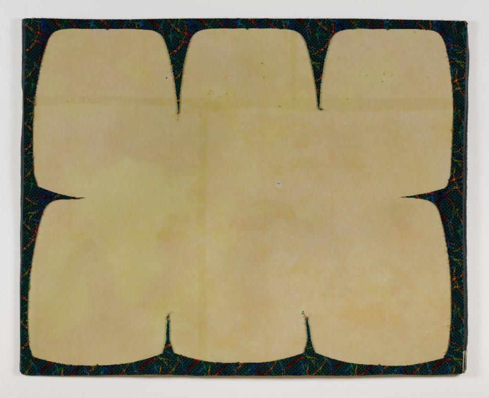 Jessica Vaughn, Arcs Blue, 2016, upholstery scrap on fiberglass panel, 52 x 50 x 0.25 in.