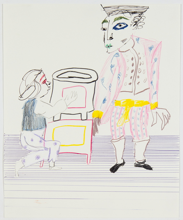 Sofi Brazzeal,    Untitled (two figures and a stove) , 2016, ink and color pencil on paper, 17 x 14 in.