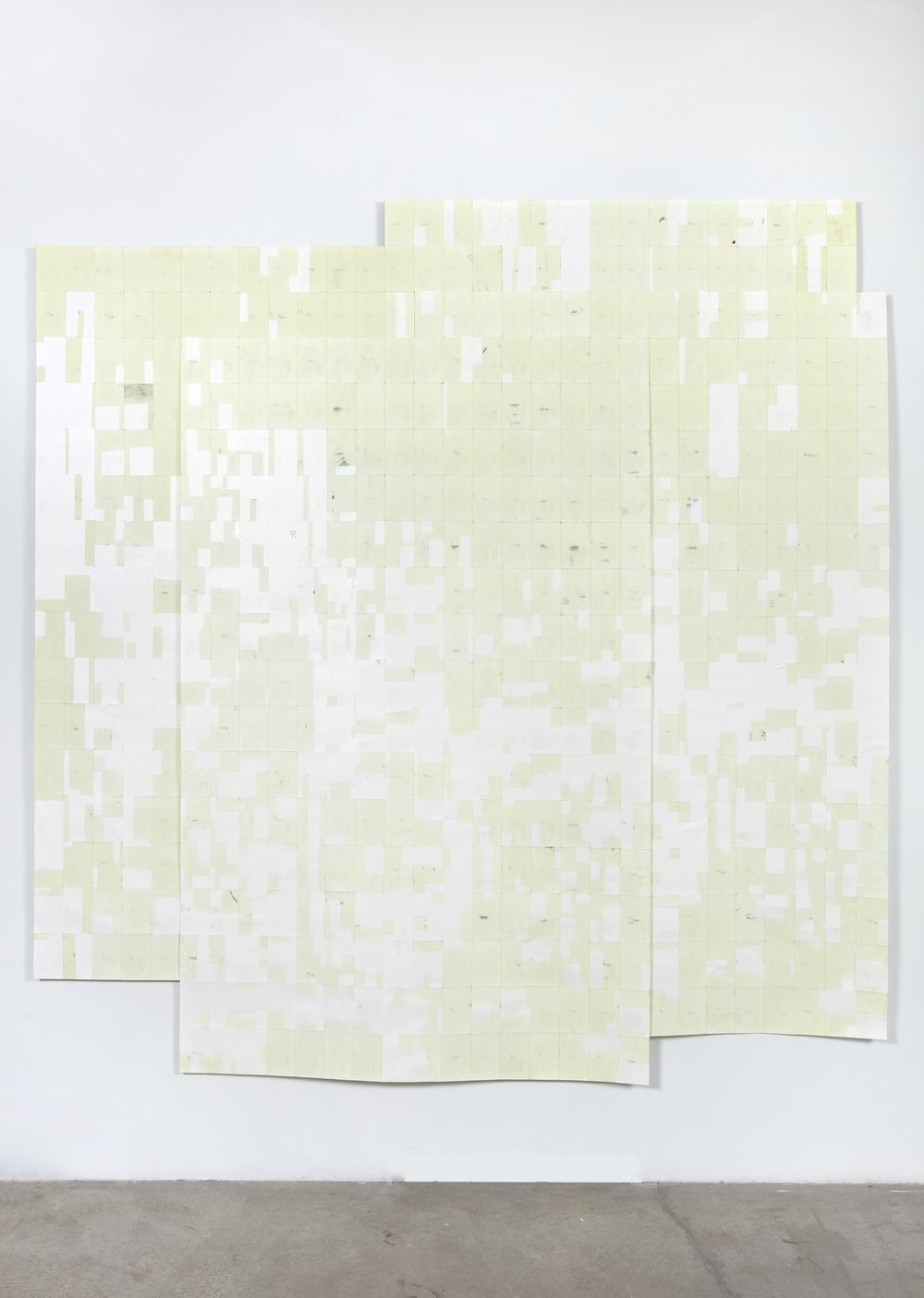 Agnes Lux,  Hiver ete lies #1 , 2016, phosphorescent paint on postcards, 104.72 × 101.4 in. (light view)