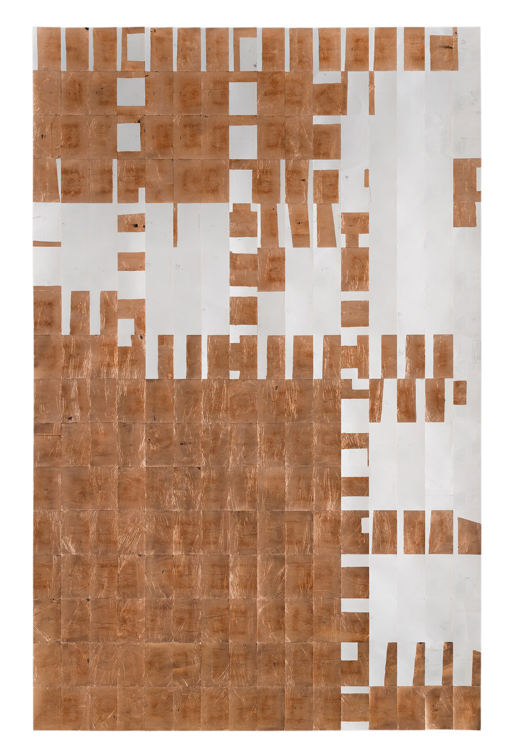 Agnes Lux,    #5-16 , 2015, postcards, graphite and copper, 88.2 × 56 in.
