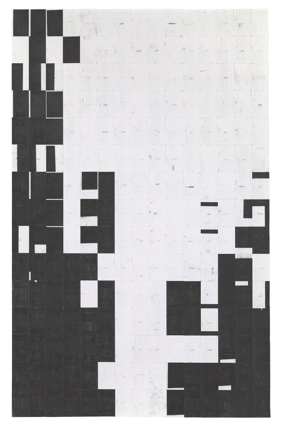Agnes Lux,    #91-L-1 , 2013, postcards and graphite, 88.2 × 56 in.