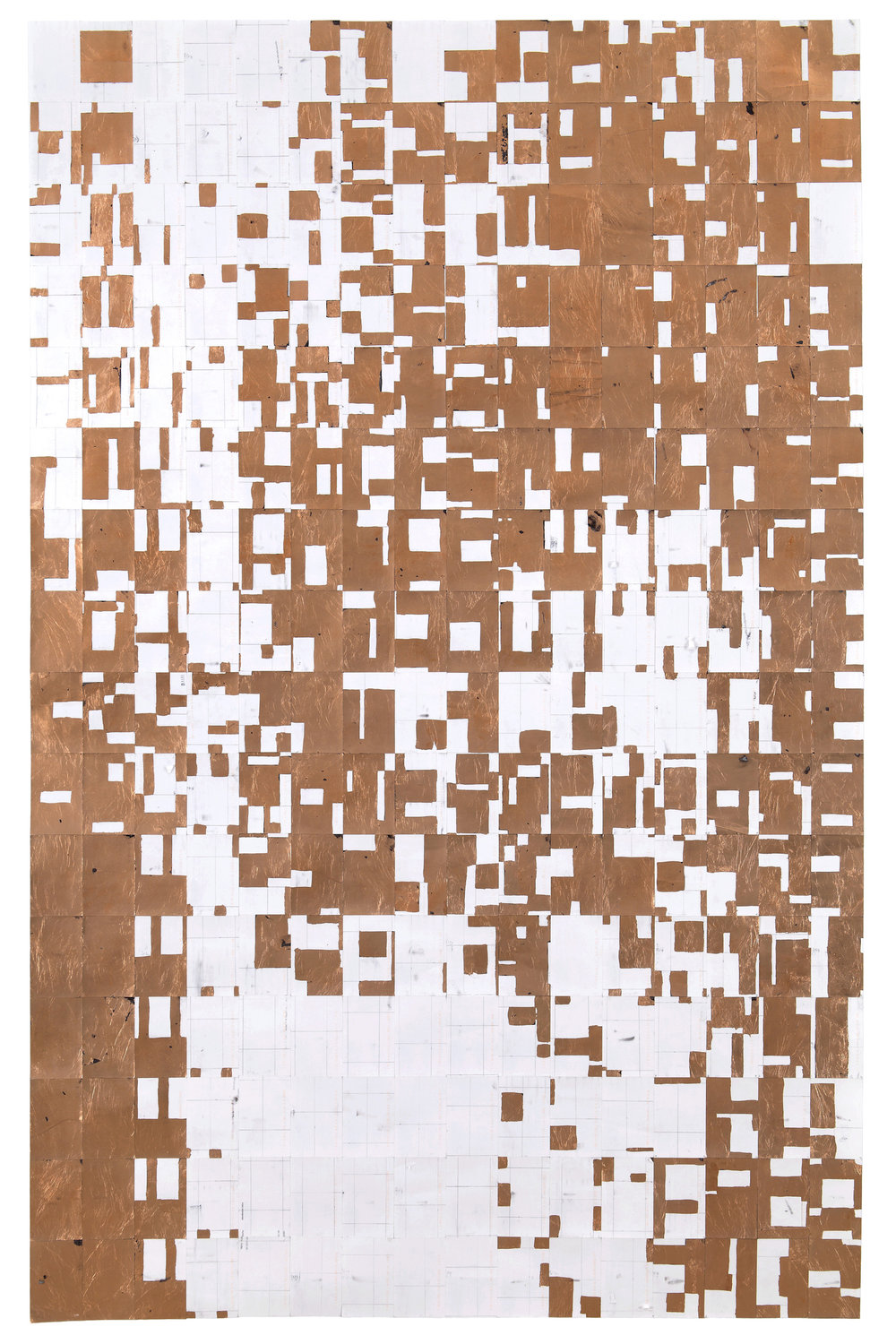Agnes Lux,    #91-C-0 , 2013, postcards, graphite and copper, 88.2 × 56 in.