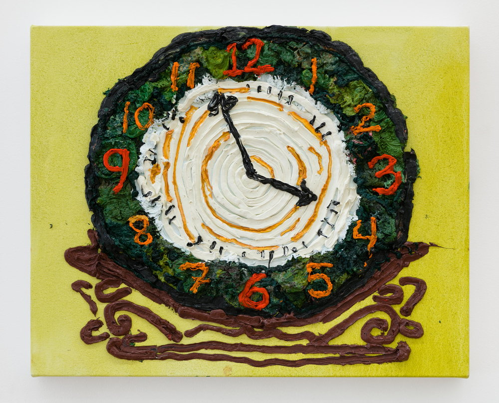 Alex Chaves,    Clock , 2017, oil on canvas, 18 x 23 in.