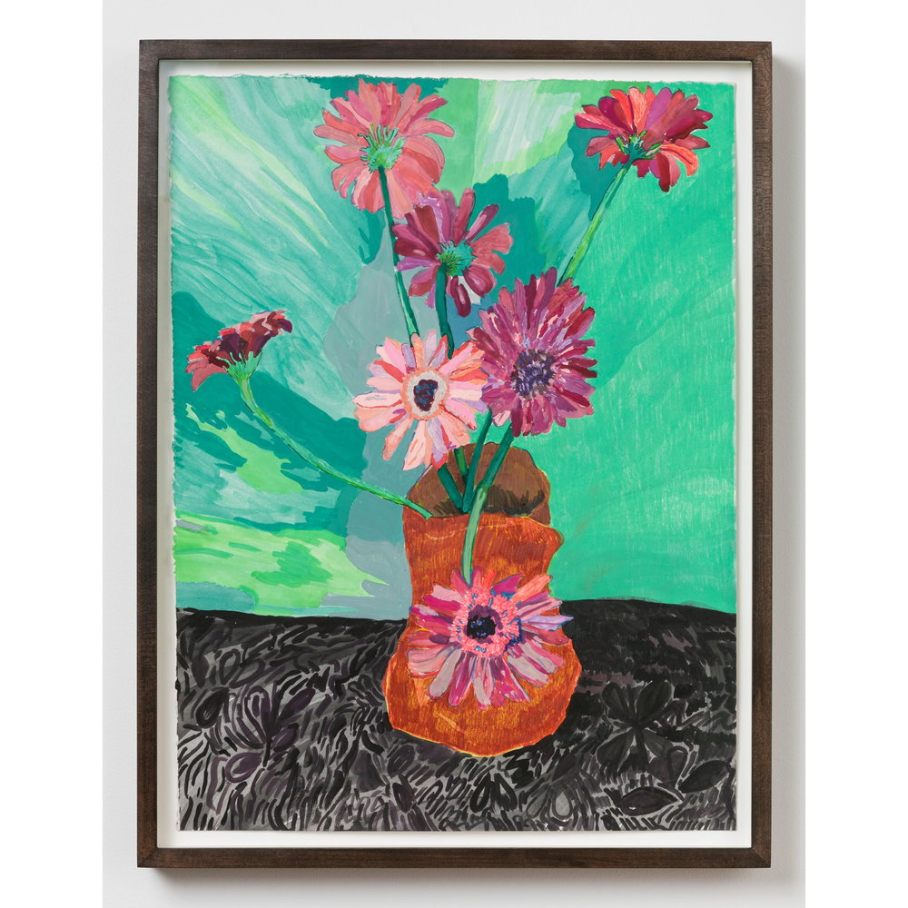 Alex Chaves,    flower still life , 2017, marker, ink, watercolor and pencil on paper, 21.5 x 16 in.