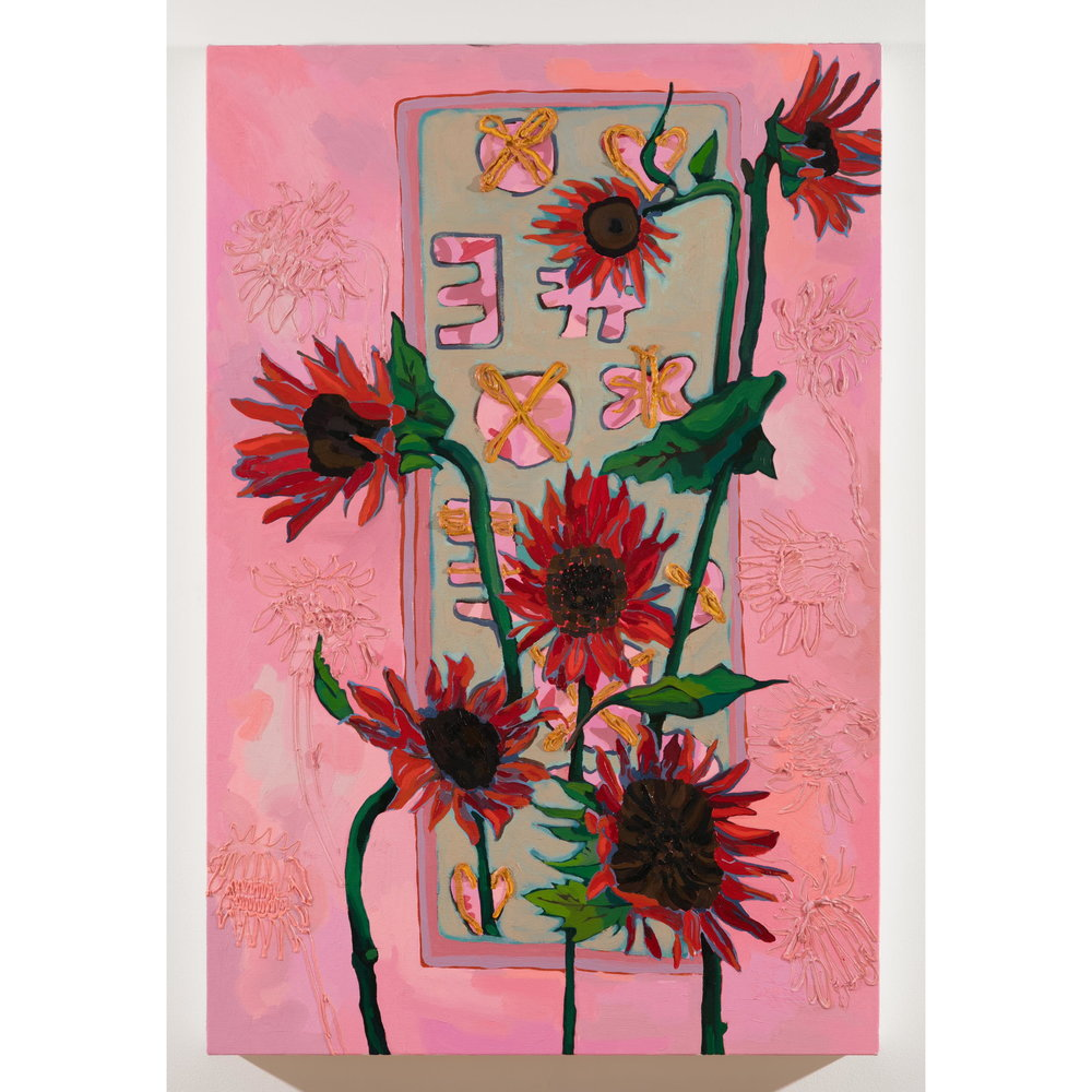 Alex Chaves,    Red sunflowers,  2017, oil on canvas, 36 x 24 in.