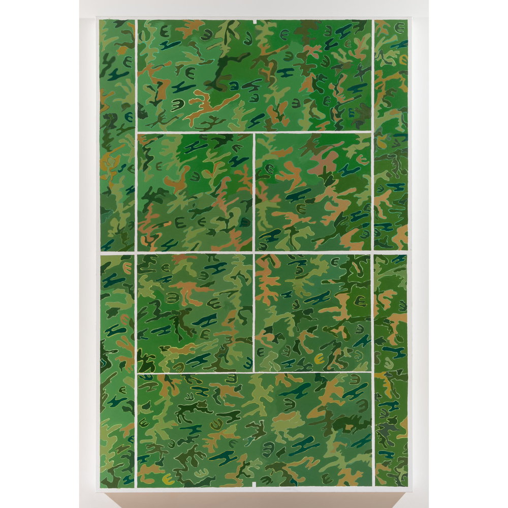 Alex Chaves,    Camo Court , 2017, oil on canvas, 72 x 48 in.