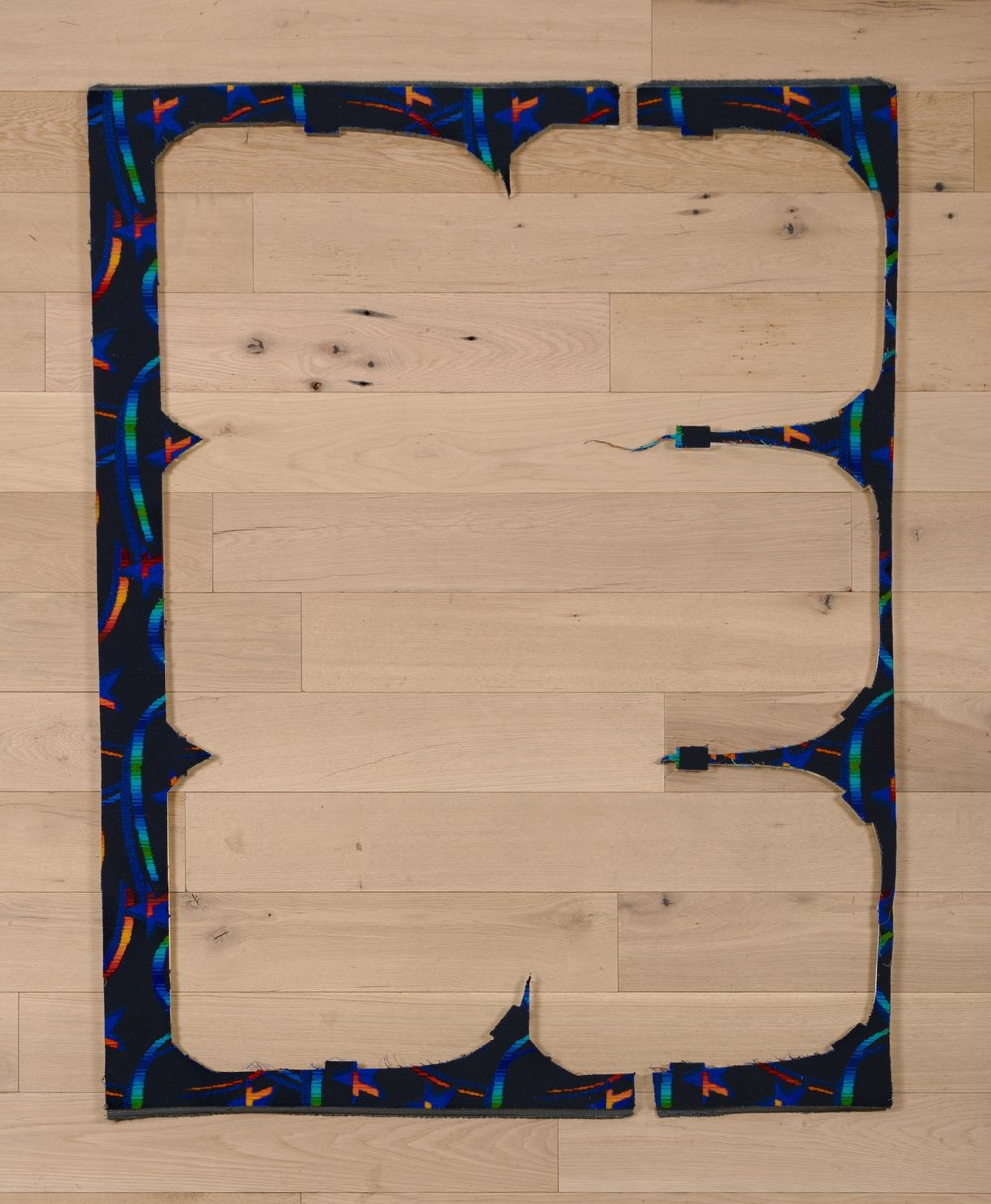 Jessica Vaughn,  Untitled (Dark Blue), #2 , 2017, fabric scraps procured from manufacturer (09/2015-11/2016) on plexi, 61 ½ × 24 × ½ in.