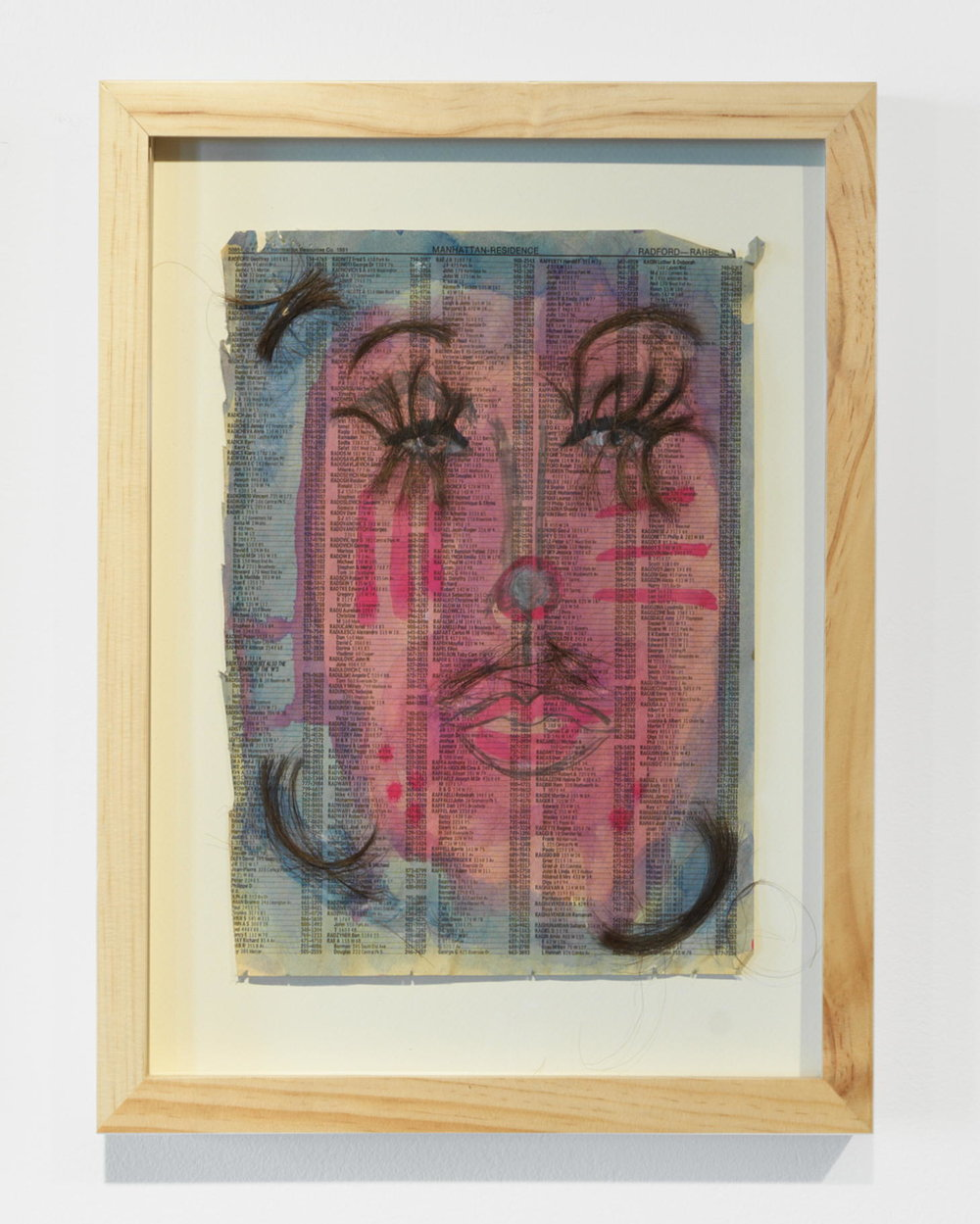 Kathleen White,   Untitled (girl clown 1) , 1991, hair and watercolor, collage, pencil on phone book page, 15 ¼ × 12 ¼ in.