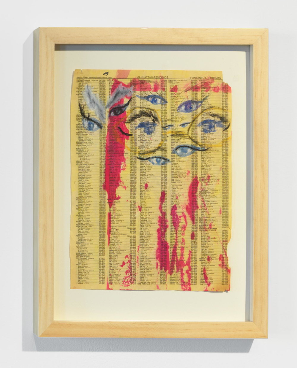 Kathleen White,    Untitled (eyes with glasses) , 1991, crayon, charcoal, collage, watercolor on phone book page, 15 ¼ × 12 ¼ in.