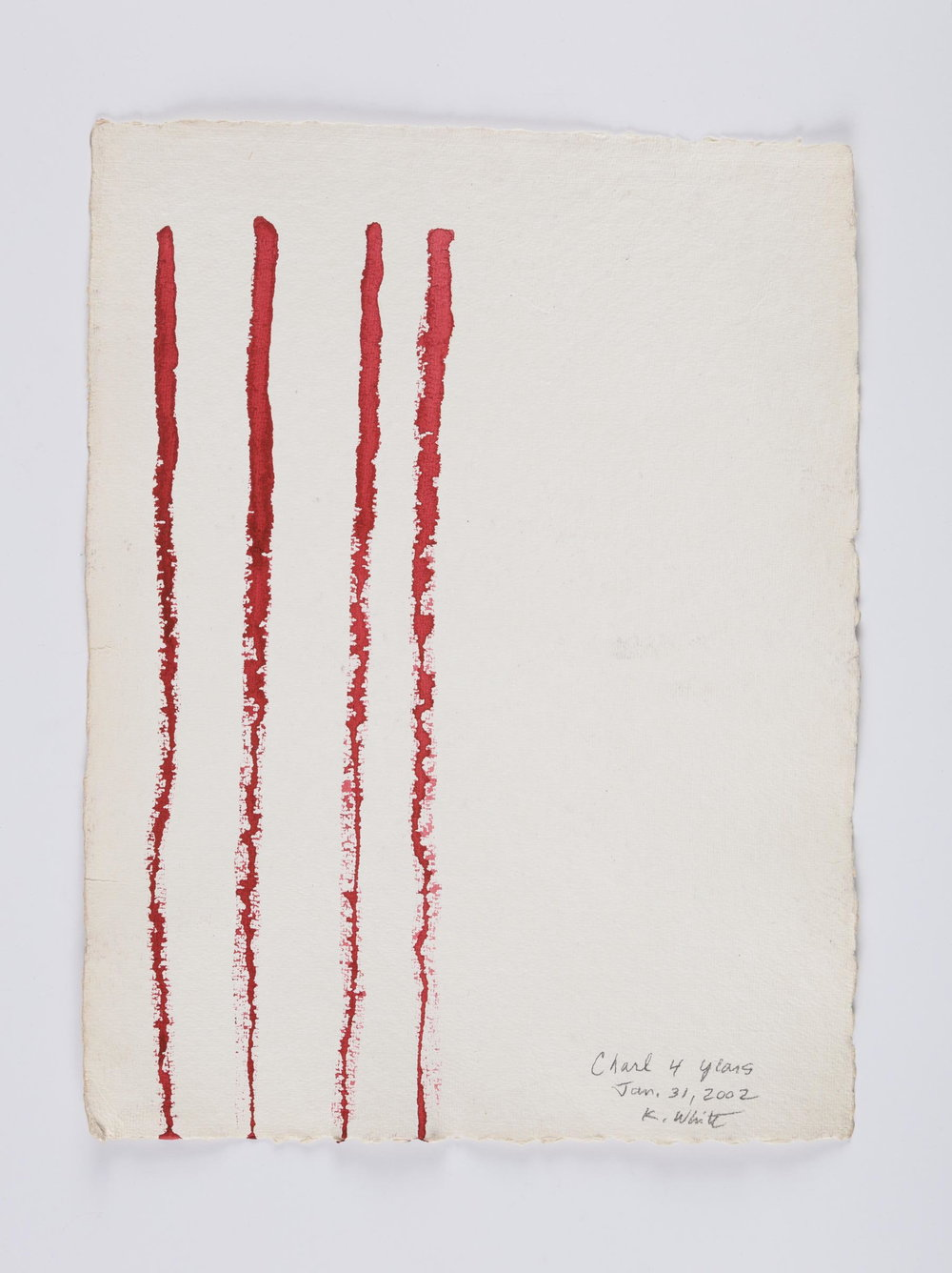 Kathleen White,    A Year of Firsts  (detail: 1 of 40 works on paper), 2001, 40 works on paper, each: 12 × 16 ½ in., each: 16 ½ × 12 in