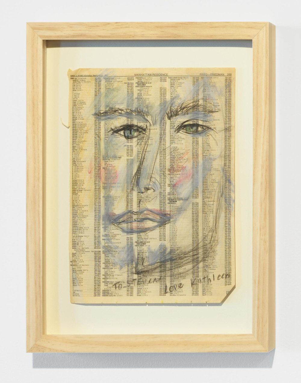 Kathleen White,    To: Stephen, Love Kathleen , 1991, crayon, pencil on phone book page, 15 ¼ × 12 ¼ in.