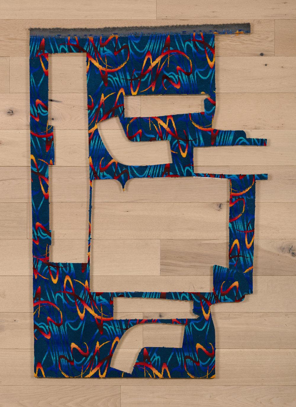 Jessica Vaughn, South Beach Blue No.389 , 2017, fabric scraps procured from manufacturer (09/2015-11/2016) on plexi, 57 × 38 ¾ × ½ in