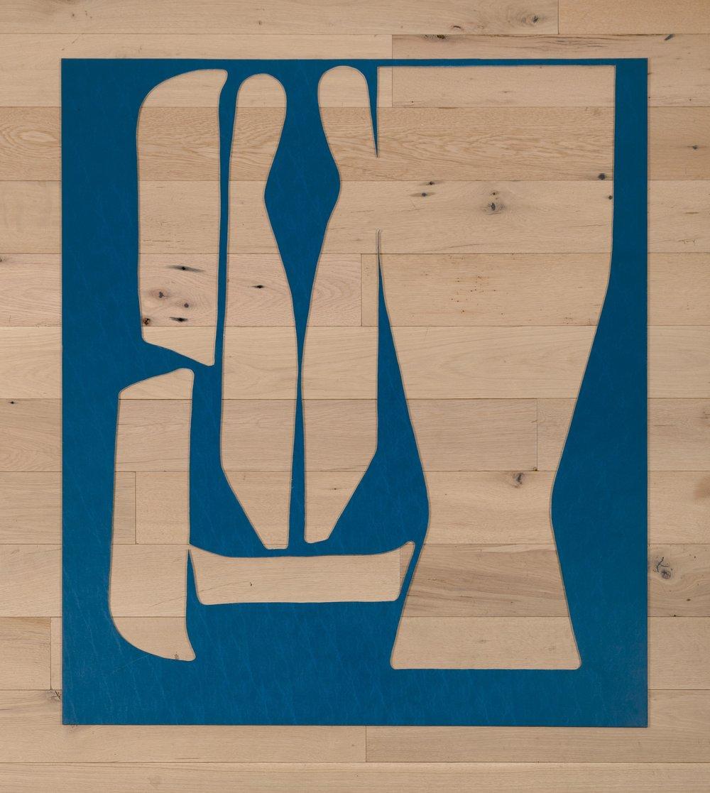 Jessica Vaughn,   D-90 Blue No.116 , 2016, fabric scraps procured from manufacturer (09/2015-11/2016) on plexi, 55 × 48 × ¼ in.