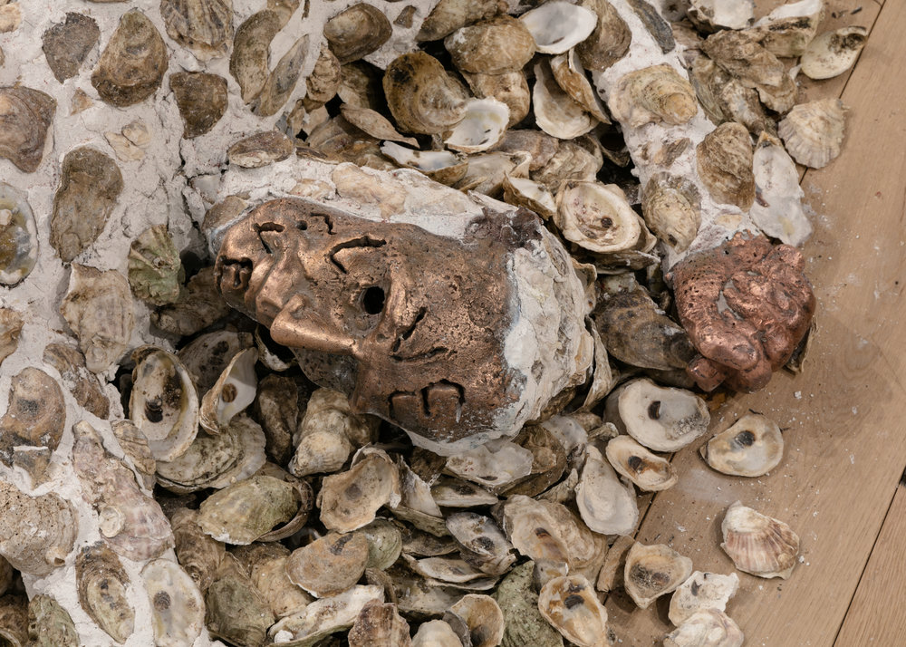 Jory Rabinovitz,  Death of Abel  (detail), 2018, tabby, melted pennies and oyster shells, Dimensions variable