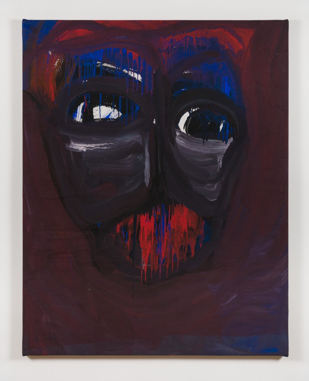 Dan Asher,    Untitled , 1980s, painting on canvas, 71 × 58 ½ in., 66 ¾ × 53 in. (base)