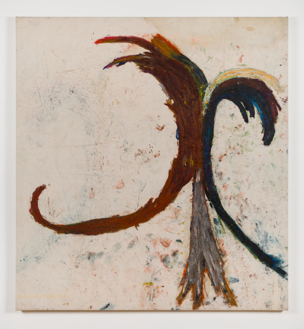 Dan Asher,  Untitled , 1985, oil on canvas, 78 × 71 in., 74 ½ × 69 in. (base)