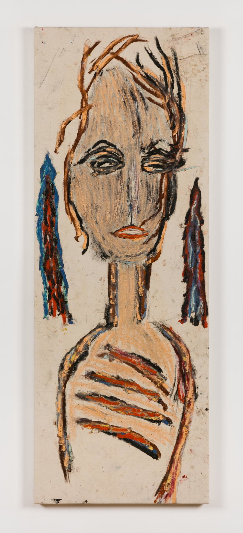 Dan Asher,    Untitled , 1980s, oil on canvas, 59 × 24 ½ in., 58 × 21 in.(base)