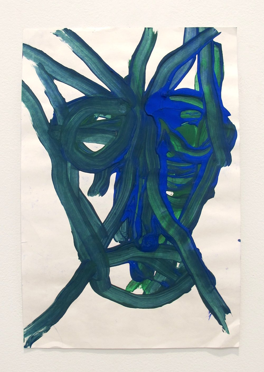 Dan Asher,    Untitled , 2000, tempera on paper, 17 × 12 in., 22 ⅞ × 16 ⅝ in. (framed)