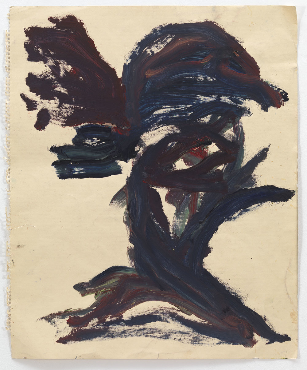 Dan Asher,    Untitled , 1980s, oil stick on paper, 18 × 15 in., 20 ¾ × 17 ¾ in. (framed)