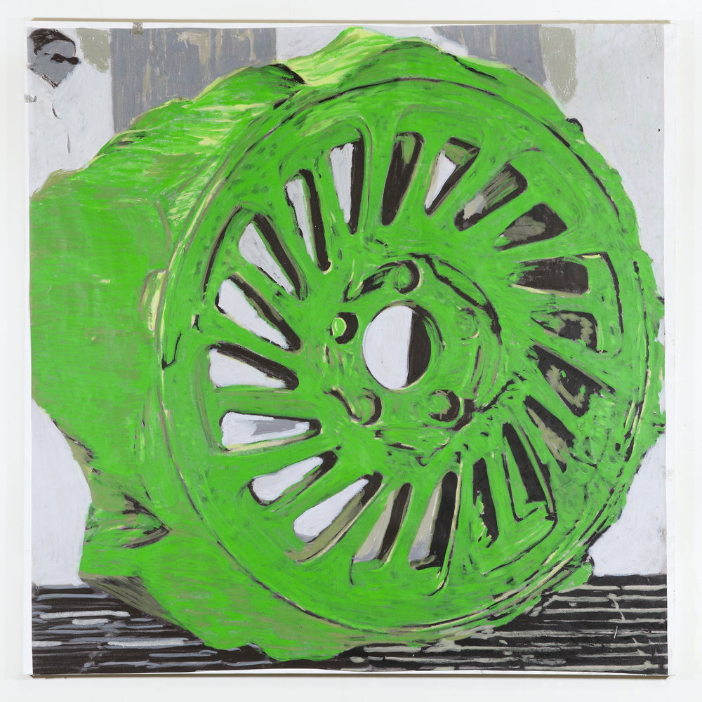 JPW3 ,   Open Trench Green , 2018, oil pastel on paper on canvas, 36 × 36 in.