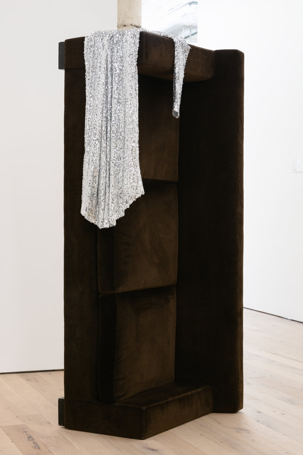 Kayode Ojo,  Untitled , 2017, dark chocolate ABC Home sofa / couch, women silver sequins long sleeves formal evening prom maxi cocktail party dress, 90 × 40 × 30 in.
