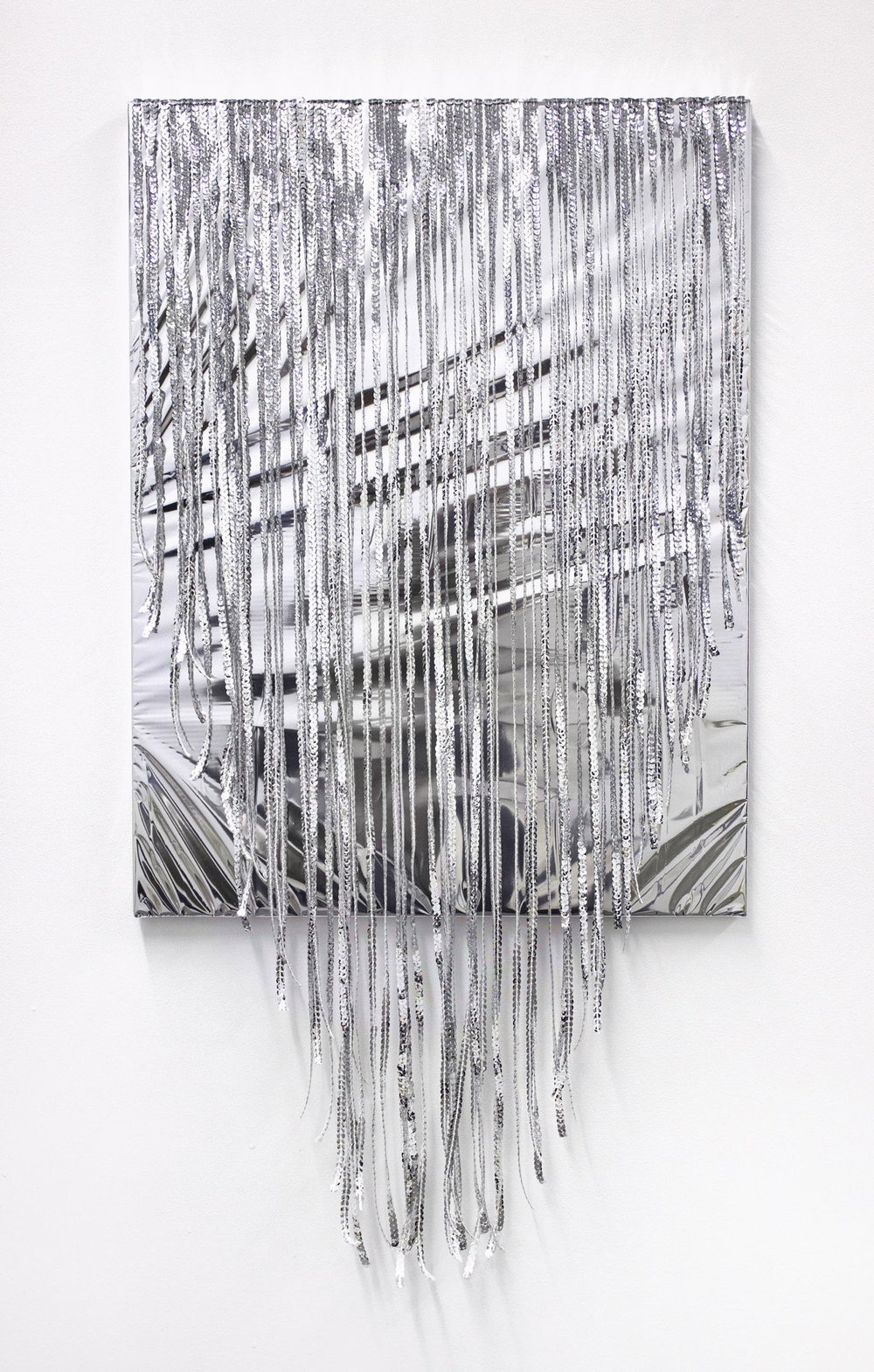 Kayode Ojo,  Untitled , 2014, Mylar, sequins on canvas, 18 × 35 in.