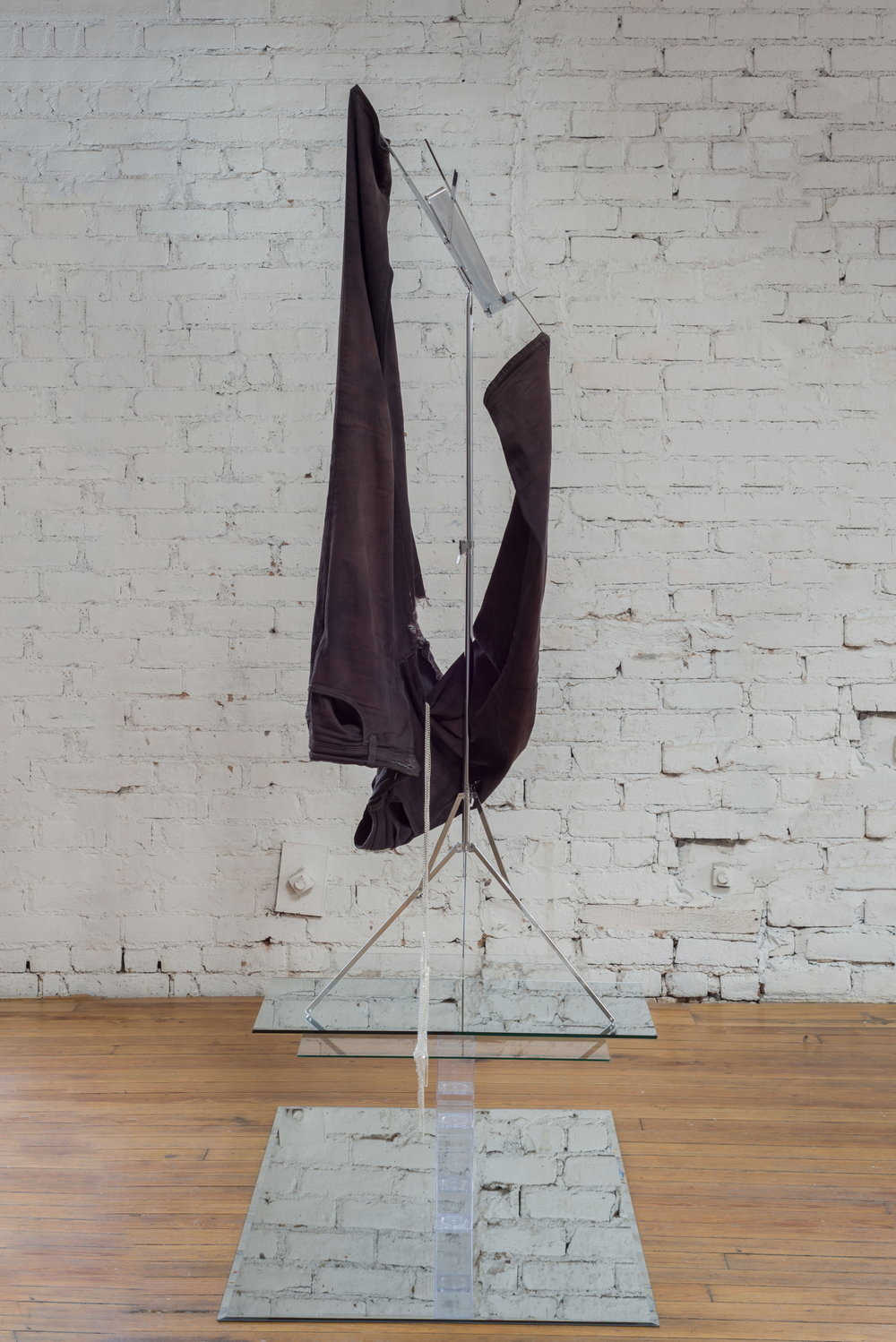 Kayode Ojo,  Untitled , 2017, Uniqlo Men's Leggings Jeans Gray, Rit Liquid Fabric Dye Black, Hamilton Stands KB400 Classic American Folding Sheet Music Stand (Chrome), Jane Stone Hot Sexy Simple Unibody Bilayer Silver Color Tassels Body Chain Necklace Fashion Statement Jewelry New Body Necklace (Fn1095-Silver), Clear Amac Boxes, mirror, glass, Dimensions variable.