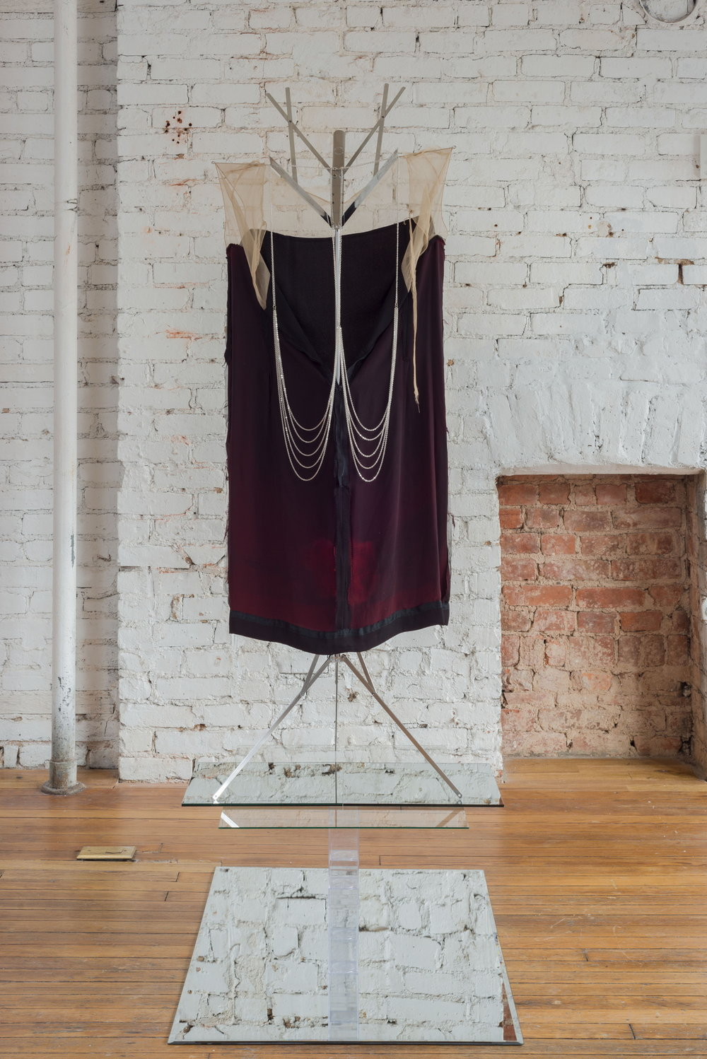 Kayode Ojo,  Untitled , 2016, Vintage dress lining, Jane Stone Hot Sexy Simple Unibody Bilayer Silver Color Tassels Body Chain Necklace Fashion Statement Jewelry, New Body Necklace (Fn1095-Silver), Hamilton Stands KB400 Classic American Folding Sheet Music Stand (Chrome), Clear Amac, Boxes, mirror, glass, Dimensions variable.