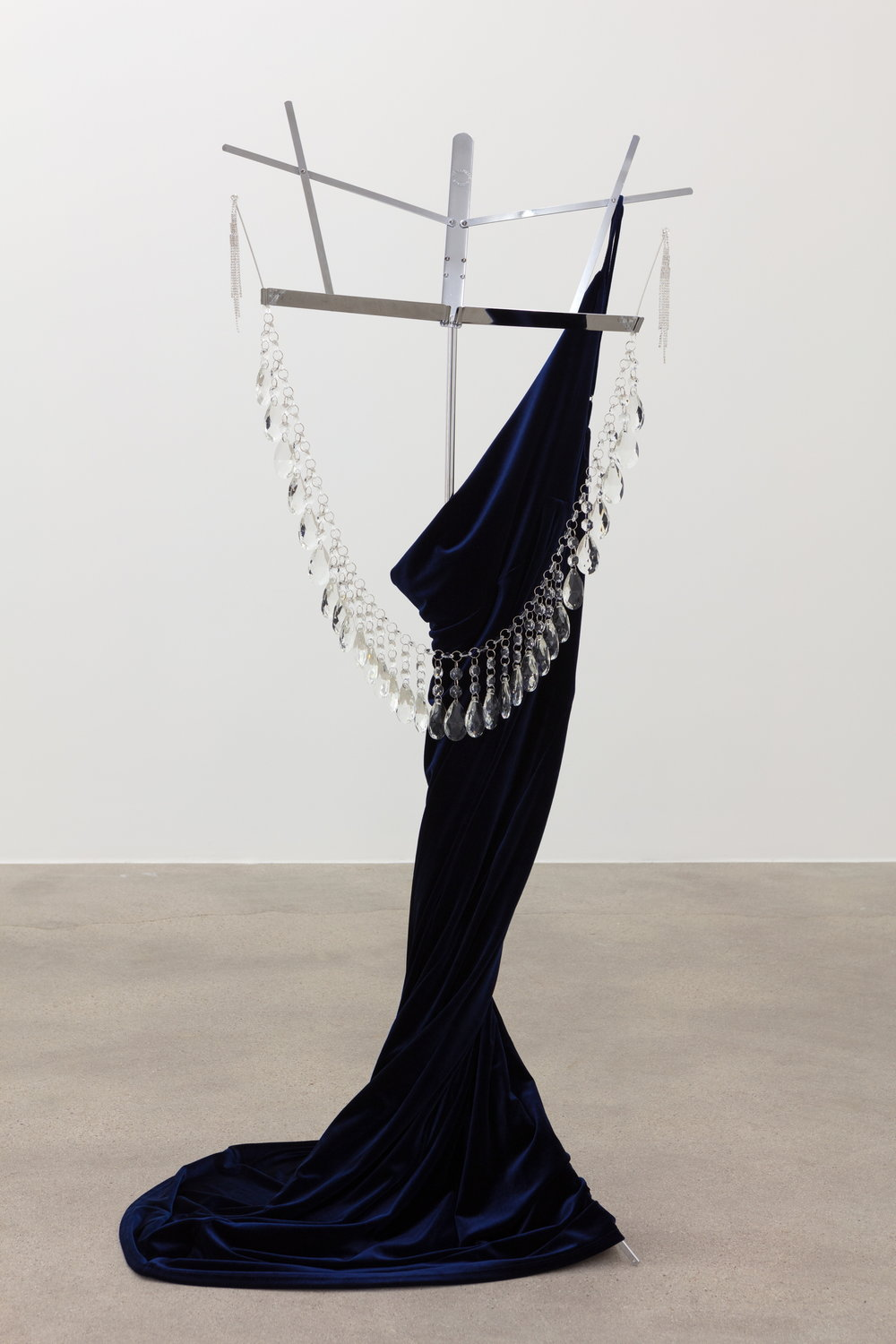 Kayode Ojo,  No.5 The Film (São Paulo, Milan, New York) , 2018, Sorceress Navy Blue Velvet Maxi Dress, Topwholesalejewel Bridal Long 5 Strands Silver Crystal Earrings, StarSide Crystal Chandelier Teardrop Prisms 50mm, Crystal Beads Clear Chandelier Bead Lamp Chain, Hamilton Stands KB400 Classic American Folding Sheet Music Stand (Chrome), Dimensions variable.