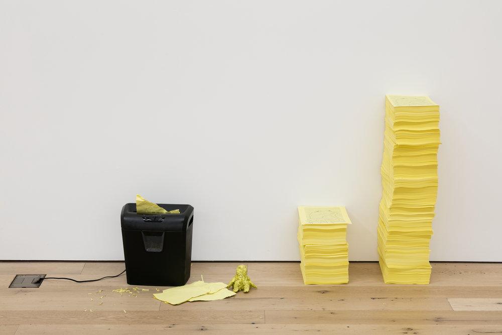Hannah Black,  Eat Me , 2018, Paper, shredded paper, shredder, dimensions variable, edition 1/1 + 1AP