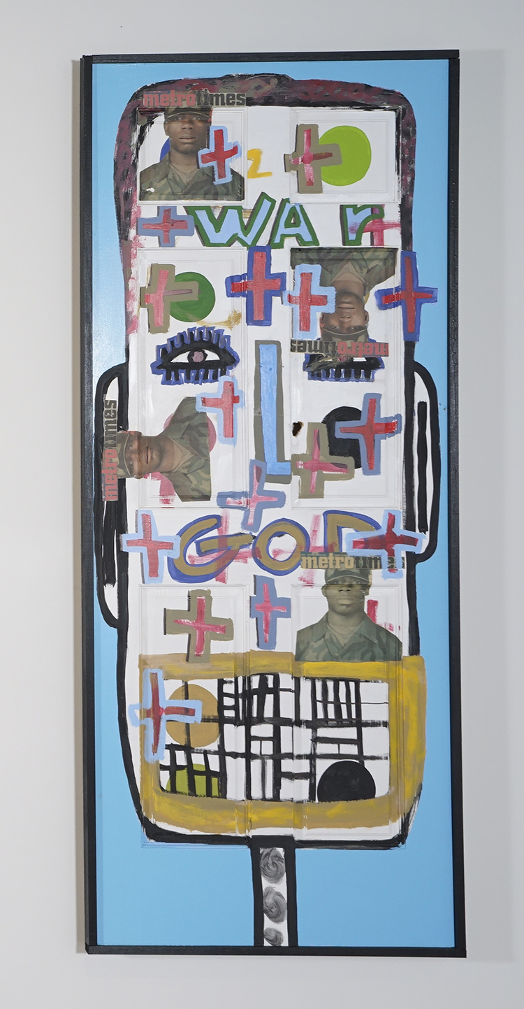 Tyree Guyton,  Man of War , 2003, wood, house paint and mixed media, 81 ½ × 33 ½ × 2 inches